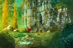 1other anato_finnstark artist_name cape commentary crown day english_commentary forest from_side grass highres moss nature original outdoors red_cape rock ruins scenery sword tree weapon