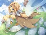 1girl alchemist_(ragnarok_online) alternate_color bangs blonde_hair blue_bow blue_dress blue_eyes blue_sky blush boots bow breasts brown_cape brown_footwear cape clouds commentary_request day dress elbow_gloves feet_out_of_frame fingerless_gloves floating_island flower fur-trimmed_boots fur_collar fur_trim gloves green_gloves hair_bow highres long_hair looking_at_viewer looking_back lunaraven medium_breasts open_mouth outdoors pink_flower ponytail ragnarok_online short_dress sitting sky solo strapless strapless_dress