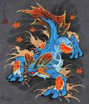 all_fours animal_focus fins fiona_hsieh flower gen_3_pokemon looking_to_the_side pokemon pokemon_(game) pokemon_rse seal_impression signature swampert water yellow_eyes