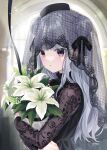 1girl absurdres bangs black_hair black_headwear black_ribbon blurry blurry_background bouquet commentary_request copyright_request double_bun eyebrows_visible_through_hair floral_print flower hair_ribbon hat highres jimmy_madomagi long_hair long_sleeves looking_at_viewer object_hug parted_lips print_sleeves ribbon silver_hair solo upper_body veil violet_eyes white_flower