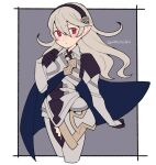1girl armor armored_dress black_gloves blue_cape blush breastplate breasts cape closed_mouth clothing_cutout corrin_(fire_emblem) corrin_(fire_emblem)_(female) do_m_kaeru eyebrows_visible_through_hair fire_emblem fire_emblem_fates gauntlets gloves grey_hair hair_between_eyes hairband long_hair looking_at_viewer manakete pointy_ears puffy_sleeves red_eyes solo thigh_cutout twitter_username