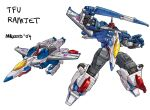 1boy blue_eyes character_name decepticon holding holding_sword holding_weapon insignia makoto_ono mecha multiple_views no_humans open_hand ramjet shoulder_cannon sword transformers weapon white_background