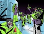 1980s_(style) 6+boys bonecrusher city cityscape constructicon construction_worker crossed_arms decepticon everyone frown holding holding_weapon hook_(transformers) long_haul looking_at_viewer makoto_ono mixmaster multiple_boys night night_sky retro_artstyle scavenger_(transformers) scrapper_(transformers) sky transformers visor weapon