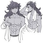 1boy abs bangs buttons collarbone commentary_request facial_hair greyscale hand_on_own_head highres korean_commentary leon_(pokemon) long_hair male_focus monochrome muscular muscular_male navel parted_lips pectorals pokemon pokemon_(game) pokemon_swsh rnehrdyd1212 shirt simple_background smile sweat towel towel_around_neck towel_around_waist undressing white_background white_shirt