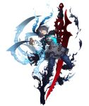 1girl alice_(sinoalice) belt black_dress breasts claws corruption dark_blue_hair dark_persona dress empty_eyes full_body glowing glowing_eyes hair_over_one_eye hairband holding holding_sword holding_weapon huge_weapon ji_no looking_at_viewer medium_breasts official_art pocket_watch red_eyes short_hair sinoalice solo spoilers sword tattoo torn_clothes torn_dress transparent_background watch weapon