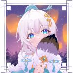 1girl blue_eyes covering_mouth fan hair_between_eyes hair_ornament holding honkai_(series) honkai_impact_3rd lantern leaf looking_at_viewer night night_sky qqqag_akiho sky solo theresa_apocalypse theresa_apocalypse_(starlit_astrologos) white_background white_hair zhuge_kongming_(honkai_impact)