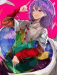 1girl :d breasts cape chromatic_aberration cowboy_shot dress dutch_angle hairband highres index_finger_raised krs_(kqrqsi) looking_at_viewer medium_breasts medium_hair multicolored multicolored_clothes multicolored_dress open_mouth pink_background pointing purple_hair rainbow_gradient simple_background smile solo tenkyuu_chimata touhou violet_eyes white_cape