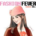 1girl barbie_(franchise) beanie brown_eyes brown_hair character_name coat copyright_name doll fashion fashion_fever_barbie_(toyline) flower_hat graphic_shirt grin hat head_tilt highres jacket knit_hat logo mexican orange_h pink_headwear portrait red_coat red_jacket shirt smile solo t-shirt teresa_(barbie) upper_body white_background