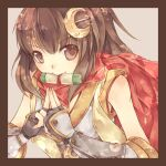 1girl bangs border breasts brown_border brown_eyes brown_hair commentary_request crescent crescent_hair_ornament eyebrows_visible_through_hair grey_background hair_between_eyes hair_ornament hairpin japanese_clothes kimono kuji-in long_hair looking_at_viewer lunaraven mouth_hold ninja_(ragnarok_online) ragnarok_online red_scarf scarf scroll simple_background sleeveless sleeveless_kimono small_breasts solo upper_body vambraces white_kimono