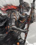 1girl armor black_hair elden_ring fiery_hair fire flame helmet highres lips long_hair praying prosthesis shimhaq simple_background souls_(series) soulstober sparkle sword weapon