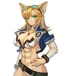 1girl abs absurdres animal_ears arm_at_side bangs belt blonde_hair breasts cat_ears commentary cowboy_shot cropped_jacket english_commentary expressionless facial_mark goggles goggles_on_head green_eyes hair_ornament hairclip hand_on_hip highres jewelry large_breasts long_hair looking_at_viewer midriff muscular muscular_female pendant phantasy_star phantasy_star_online_2 revealing_clothes short_sleeves simple_background solo sookmo whisker_markings white_background