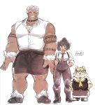 1girl 2boys animal_ears bare_shoulders black_hair blush breasts butler character_request chest_hair dog_boy dog_ears facial_hair full_body fuyodo giant giant_male goatee gomeisa_(live_a_hero) grey_hair head_on_chest height_difference highres live_a_hero long_sideburns male_focus multiple_boys muscular muscular_male necktie pectorals pelvic_curtain short_hair sideburns size_difference sketch sleeveless tattoo tribal_tattoo upper_body