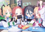 5girls angry arisu_(blue_archive) blonde_hair blue_archive chips commentary_request food forehead game_console hair_between_eyes halo headband kokone_(coconeeeco) midori_(blue_archive) momoi_(blue_archive) multiple_girls opening_door school_uniform siblings smile tissue_box twins yuuka_(blue_archive) yuzu_(blue_archive)