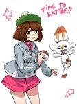 ayanobro bandages blush brown_eyes brown_hair english_text fluffy gen_8_pokemon gloria_(pokemon) hat highres poke_ball pokemon pokemon_(game) pokemon_swsh scorbunny short_hair star_(symbol)