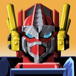1boy ark_line autobot blue_eyes gradient gradient_background highres looking_at_viewer mecha no_humans omega_prime orange_background portrait science_fiction solo transformers transformers_car_robots upper_body