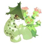 :d blush_stickers brown_sclera cacturne cactus claws colored_sclera commentary_request eye_contact flower gen_3_pokemon gen_5_pokemon looking_at_another maractus newo_(shinra-p) no_humans notice_lines open_mouth pink_flower pokemon pokemon_(creature) simple_background sitting smile spikes tongue wavy_mouth white_background yellow_eyes