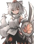 1girl animal_ears aoiyamagi4 bare_shoulders breasts detached_sleeves hat inubashiri_momiji leaf_print maple_leaf_print pom_pom_(clothes) red_eyes shirt short_hair sideboob silver_hair skirt solo sword tail tokin_hat touhou weapon wolf_ears wolf_tail
