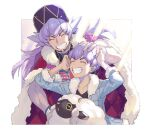2boys argyle bangs baseball_cap black_shirt blue_jacket brothers cape champion_uniform closed_eyes commentary_request dynamax_band facial_hair fur-trimmed_cape fur-trimmed_jacket fur_trim gen_8_pokemon grin hands_on_own_head hat hop_(pokemon) jacket kusuribe leon_(pokemon) long_hair male_focus multiple_boys pokemon pokemon_(creature) pokemon_(game) pokemon_swsh purple_hair red_cape shirt short_hair siblings signature smile teeth twitter_username wooloo