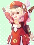 1girl :d ahoge arms_up bangs blush_stickers brown_gloves brown_scarf clenched_hands clover_print coat commentary_request dodoco_(genshin_impact) eyebrows_visible_through_hair genshin_impact gloves hair_between_eyes hat_feather hat_ornament highres klee_(genshin_impact) light_brown_hair long_hair looking_away low_twintails open_mouth orange_eyes outstretched_arms pointy_ears red_coat scarf shikinexion sidelocks simple_background smile solo spread_arms twintails