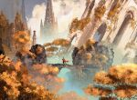 1other ambiguous_gender anato_finnstark bridge cape castle crown highres original outdoors red_cape ruins scenery solo sword tree weapon