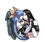 blue_hair couples dizzy_(guilty_gear) guilty_gear hand_holding imminent_kiss looking_at_another red_eyes testament_(guilty_gear)
