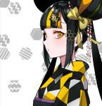1girl amy-chan amy_channel bangs black_hair blonde_hair blunt_bangs blush bow double_bun green_hair hair_bow halftone hexagon highres long_hair looking_at_viewer multicolored multicolored_eyes multicolored_hair orange_eyes orange_hair parted_lips ram_(ramlabo) second-party_source solo streaked_hair twintails upper_body yellow_bow
