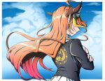1girl ahoge black_jacket blonde_hair blue_sky border bow breasts cleavage_cutout clothing_cutout clouds cloudy_sky commentary_request crossed_arms day diagonal-striped_bow dragon_girl dragon_horns emblem english_commentary fang floating_hair from_behind hololive horn_bow horns jacket kiryu_coco long_hair mefomefo mixed-language_commentary multicolored_hair orange_hair outdoors outside_border pointy_ears shirt sidelocks skin_fang sky smile solo streaked_hair striped striped_bow upper_body virtual_youtuber white_border white_shirt wind