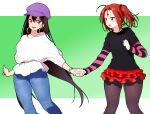 2girls bangs bead_bracelet beads black_shirt blue_pants blush border bracelet breasts brown_eyes brown_hair brown_legwear contemporary denim earrings facial_mark fate/grand_order fate_(series) forehead forehead_mark green_background hair_between_eyes hat highres holding_hands hoop_earrings jeans jewelry large_breasts long_hair long_sleeves looking_at_viewer miniskirt multiple_girls nezha_(fate) onsoku_inu open_mouth pants pantyhose parted_bangs purple_headwear red_skirt shirt short_hair skirt striped_sleeves thighs twintails violet_eyes white_border white_shirt xuangzang_sanzang_(fate)