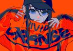 1girl absurdres baseball_cap black_hair black_headwear blue_eyes closed_mouth ear_piercing earrings english_text expressionless hand_tattoo hands_up hat high_collar highres hoop_earrings huge_filesize jacket jewelry lips long_hair long_sleeves looking_at_viewer nail_polish orange_background orange_jacket orange_lips orange_nails orange_theme original piercing ritao_kamo simple_background sleeves_past_wrists solo symbol_commentary upper_body