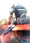 1boy 1girl alexa_(transformers) brown_hair crying death decepticon fading glowing glowing_eyes hair_behind_ear hand_on_another's_face highres hug mecha open_hands open_mouth orange_eyes science_fiction shoulder_cannon sitting sizuku_73 spoilers starscream transformers transformers_armada upper_body white_background