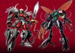 antennae asymmetrical_armor asymmetrical_arms beast_wars beetle blue_eyes bug cicada claws clenched_hand extra_eyes gattai glowing glowing_eyes green_eyes grey_background head_tilt highres holding holding_sword holding_weapon insect insect_wings lobster looking_at_viewer magnaboss maximal mecha no_humans oohara_tetsuya organic predacon rhinoceros_beetle rivalry rivals science_fiction sharp_teeth signature solo sword teeth transformers tripredacus tusks weapon white_background wings