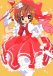 1girl :d absurdres antenna_hair bow bowtie brown_hair cardcaptor_sakura cowboy_shot creature dress frills fuuin_no_tsue glove_bow gloves green_eyes hat hat_bow highres holding holding_wand kero kinomoto_sakura kodama_(marugoto_omikan) looking_at_viewer magical_girl open_mouth pink_bow pink_dress pink_headwear puffy_sleeves red_bow short_hair simple_background smile standing thick_eyebrows wand white_bow white_gloves white_wings wings yellow_background