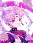 1girl bangs bishoujo_senshi_sailor_moon black_lady chibi_usa crescent_facial_mark crystal_earrings double_bun earrings facial_mark flower forehead_mark hair_cones hoshikuzu_(milkyway792) jewelry long_hair looking_at_viewer multicolored multicolored_eyes parted_bangs pink_hair red_eyes simple_background solo twintails upper_body white_background yellow_eyes