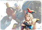 1girl animal_ear_fluff animal_ears arm_cannon blue_bow blush bow bow_choker clenched_hand elbow_gloves fox_ears fox_girl fox_tail gatling_gun gloves glowing glowing_eye gundam gundam_build_divers gundam_build_divers_re:rise gundam_heavyarms_custom gundam_wing gundam_wing_endless_waltz hair_bow hat highres hololive huge_bow jester_cap mask mecha mobile_suit navel omaru_polka one_eye_closed parody pinguinkotak science_fiction single_elbow_glove single_glove smile tail title_parody tongue tongue_out v-fin violet_eyes virtual_youtuber weapon