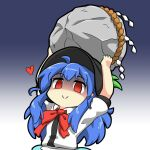 1girl bangs black_headwear blue_hair bow bowtie closed_mouth english_commentary gradient gradient_background heart hinanawi_tenshi holding keystone leaf long_hair looking_at_viewer rakkidei red_bow red_eyes red_neckwear redhead rope shaded_face shide shimenawa short_sleeves smile solo touhou upper_body