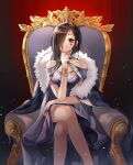 1girl absurdres bare_legs bare_shoulders black_hair bracelet breasts collarbone commentary cross cross_earrings crossed_legs crown cynthia_(uuzz5324) earrings elbow_rest eve_(the_binding_of_isaac) facial_tattoo feet_out_of_frame fur_trim hair_over_one_eye highres huge_filesize jewelry light_smile long_hair looking_at_viewer medium_breasts red_eyes sitting solo tattoo the_binding_of_isaac throne