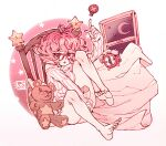 1girl alarm_clock bed bottomless clock commentary dated glasses highres messy_hair moon original pajamas pillow pink_hair poch4n red_eyes short_hair signature star_(symbol) stuffed_animal stuffed_toy teddy_bear window