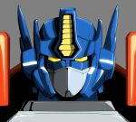 1boy ark_line autobot grey_background highres looking_at_viewer mecha no_humans optimus_prime portrait science_fiction solo transformers transformers_armada upper_body yellow_eyes