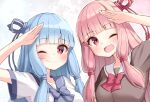 2girls ;) ;d arm_up bangs blue_bow blue_hair blue_ribbon blue_sailor_collar bow breasts brown_shirt closed_mouth commentary_request eyebrows_visible_through_hair hair_ribbon kotonoha_akane kotonoha_aoi long_hair looking_at_viewer medium_breasts multiple_girls ominaeshi_(takenoko) one_eye_closed open_mouth pink_hair red_bow red_eyes red_ribbon ribbon sailor_collar salute school_uniform serafuku shirt short_sleeves siblings sisters smile twins upper_body voiceroid white_sailor_collar white_shirt