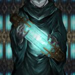 1other ambiguous_gender blurry blurry_background character_request commentary_request cowboy_shot crystal final_fantasy final_fantasy_xiv green_robe head_out_of_frame highres holding hood hood_up lunaraven
