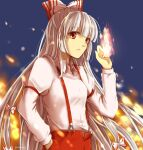 1girl bangs blue_background bow eyebrows_visible_through_hair fire fujiwara_no_mokou hair_bow hand_in_pocket hand_up hime_cut long_hair long_sleeves looking_at_viewer multicolored_bow pants red_bow red_eyes red_pants shidouas shirt simple_background solo teeth touhou very_long_hair white_bow white_hair white_shirt white_sleeves