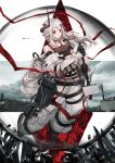 1girl absurdres akatone arknights bare_shoulders black_choker black_gloves black_shirt breasts choker coat commentary_request crop_top full_body gloves hammer highres holding holding_hammer horns huge_filesize large_breasts leg_belt long_hair looking_at_viewer midriff mudrock_(arknights) navel off_shoulder open_clothes open_coat originium_arts_(arknights) oripathy_lesion_(arknights) oversized_clothes pants pointy_ears red_eyes shirt shoes sidelocks sledgehammer sleeveless sleeveless_shirt solo standing stomach tank_top weapon white_coat white_hair white_pants