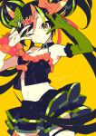 1girl amy-chan amy_channel arms_up bare_shoulders black_hair black_skirt bow breasts double_v elbow_gloves gloves green_bow green_eyes green_gloves green_hair hair_bow highres layered_skirt long_hair looking_at_viewer medium_breasts midriff mochizuki_kei multicolored_hair navel one_eye_closed orange_bow orange_hair polka_dot polka_dot_bow shadow simple_background single_glove skirt solo streaked_hair v v_over_eye very_long_hair wrist_bobbles yellow_background