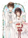 1girl :d absurdres black_hair blurry blurry_background blush bouquet bridal_veil bride brown_hair commentary couple dress eyebrows_visible_through_hair flower formal gloves gloves_removed green_eyes grin groom highres husband_and_wife jewelry kono_subarashii_sekai_ni_shukufuku_wo! megumin open_mouth petals red_eyes ring satou_kazuma short_hair_with_long_locks smile suit tuxedo veil wedding wedding_ring white_suit yuno_(suke_yuno)