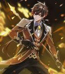 1boy bangs black_gloves blurry blurry_background brown_hair coattails collared_shirt commentary_request earrings eokiva1 eyeliner formal genshin_impact gloves gradient_hair highres holding holding_spear holding_weapon jacket jewelry long_hair long_sleeves looking_to_the_side makeup male_focus multicolored_hair necktie open_mouth orange_hair polearm ponytail shirt single_earring solo spear suit tassel tassel_earrings thumb_ring weapon yellow_eyes zhongli_(genshin_impact)