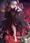 1girl barefoot black_dress breasts dark_sakura dress fate/stay_night fate_(series) flower full_body grass hair_ribbon hand_up highres looking_at_viewer matou_sakura medium_breasts medium_hair mishiro_(ixtlolton) parted_lips picture_frame red_eyes red_ribbon ribbon smile solo white_hair
