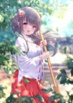 1girl :d absurdres bamboo_broom bangs blunt_bangs blurry blurry_background branch brooch broom commentary_request dappled_sunlight day eyebrows_visible_through_hair grey_hair hair_blowing hair_ornament hakama hakama_skirt highres holding holding_broom japanese_clothes jewelry kimono leaf looking_at_viewer miko open_mouth original outdoors red_eyes red_hakama red_neckwear shrine signature smile solo stairs standing sunlight white_kimono wide_sleeves yuyuko_(yuyucocco)