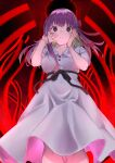 1girl absurdres breasts commentary_request dress facing_viewer fate/stay_night fate_(series) hair_ribbon hands_on_own_face hands_up highres looking_at_viewer matou_sakura medium_breasts official_alternate_costume parted_lips puffy_short_sleeves puffy_sleeves purple_hair red_ribbon ribbon short_sleeves solo takubon violet_eyes white_dress
