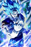 >:) 1boy :d blue_hair clenched_hand commentary_request dragon_ball dragon_ball_super dragon_ball_z earrings gloves highres jewelry muscular open_mouth potara_earrings sekitsuki_hayato signature smile solo spiky_hair super_saiyan super_saiyan_blue teeth v-shaped_eyebrows vegetto white_gloves