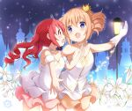 2girls :d absurdres bangs bare_shoulders blue_eyes blush brown_hair brown_skirt collarbone commentary_request crown dress drill_hair eye_contact eyebrows_visible_through_hair flower gloves gochuumon_wa_usagi_desu_ka? hair_between_eyes hand_up highres hoto_cocoa lamppost long_hair looking_at_another mini_crown multiple_girls natsu_megumi open_mouth pink_skirt pleated_skirt profile red_eyes redhead skirt smile stick_jitb tiara tilted_headwear twin_drills twintails white_dress white_flower white_gloves